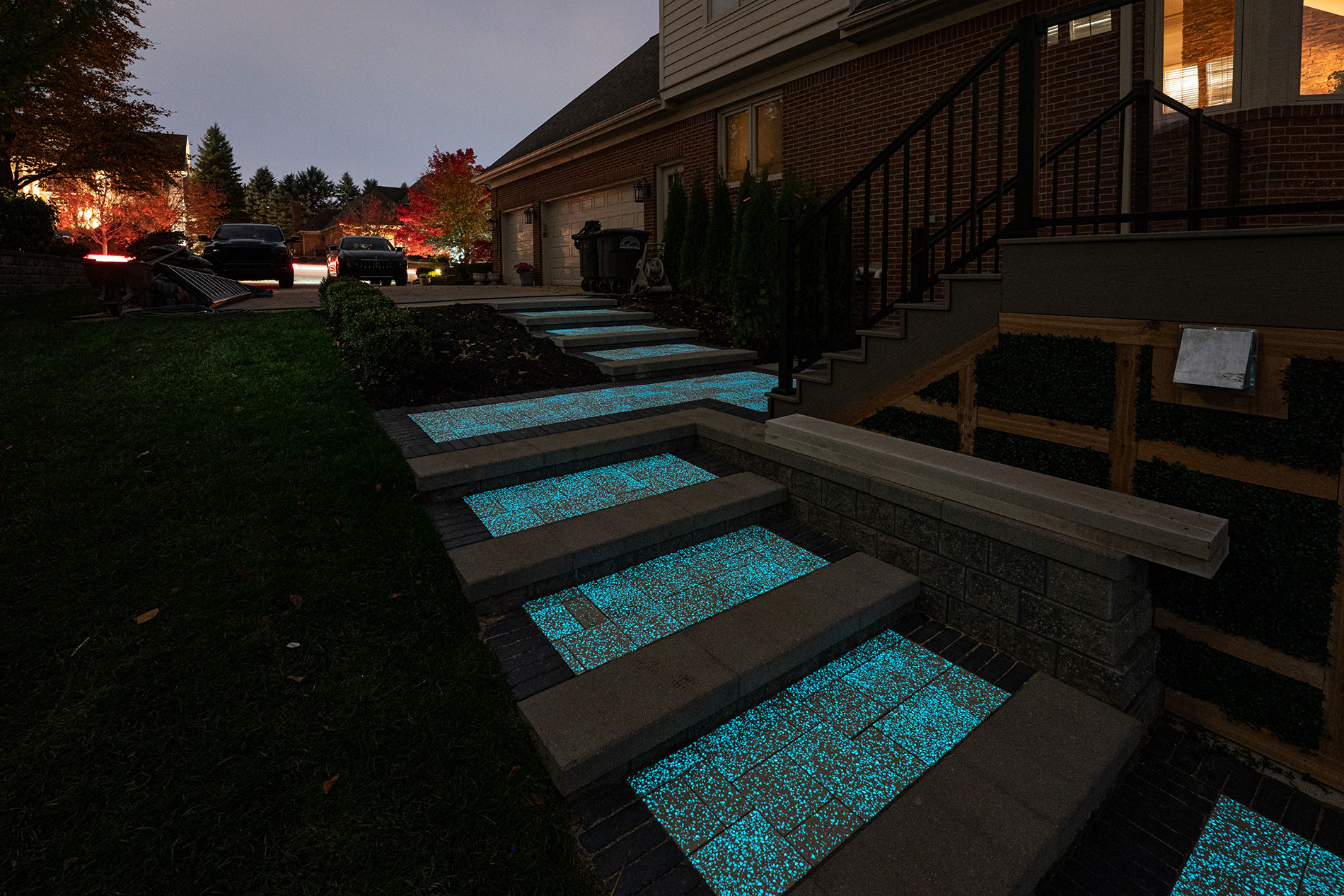 Solar Pavers installed on stairs